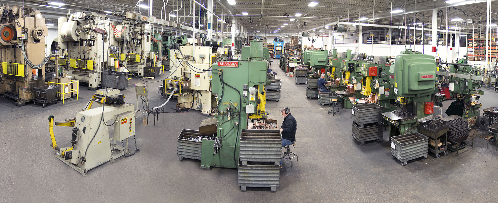 vast line of presses